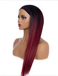 cheap -cross-border chemical fiber hair band wig, gradient wine red long straight hair wig, chemical fiber high temperature silk wig headgear