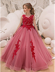 cheap -Ball Gown Floor Length Party / Wedding Flower Girl Dresses - Tulle Sleeveless Jewel Neck with Bow(s) / Appliques