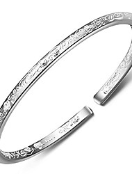 cheap -merdia women's 999 solid sterling silver flower carved bangle cuff bracelets 21g weight for wedding gift