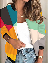 cheap -Women's Jackets Color Block Print Casual Fall Jacket Regular Daily Long Sleeve Air Layer Fabric Coat Tops Rainbow