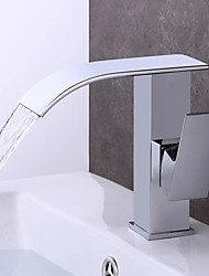 cheap -Bathroom Sink Faucet - Waterfall Chrome / Electroplated Centerset Single Handle One HoleBath Taps