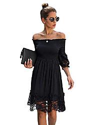 cheap -Women's A Line Dress Knee Length Dress White Black Sleeveless Solid Color Summer Casual 2021 S M L XL XXL XXXL