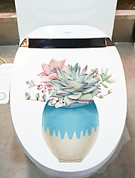 cheap -Plants Wall Stickers Bathroom Toilet Removable PVC Home Decoration Wall Decal 1pc 26x28cm