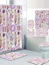cheap -Purple Flowers Digital Printing Four-piece Set Shower Curtains and Hooks Modern Polyester Machine Made Waterproof Bathroom