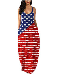 cheap -2021 european and american sources ebay independence day hot sale hot sale printed sleeveless round neck sling large size women's dress