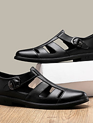 cheap -Men's Sandals Leather Shoes Flat Sandals Fishermen sandals Casual Vintage Classic Daily Outdoor Nappa Leather Cowhide Breathable Non-slipping Wear Proof Booties / Ankle Boots Black Spring Summer