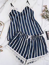 cheap -Women's Pajamas Sets Home Party Daily Layered Lace Hole Plaid Pure Color Spandex Satin Simple Casual Soft Strap Top Shorts Spring Summer