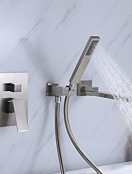 cheap -Bathtub Faucet - Contemporary Nickel Brushed Wall Installation Ceramic Valve Bath Shower Mixer Taps