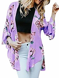 cheap -women loose blouse summer floral print flare sleeve half sleeved cardigan tops purple