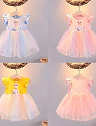 cheap -2021 new girls dress ins female baby vest gauze skirt aisha princess dress children rainbow mesh skirt