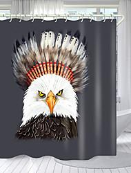 cheap -Crown Bird Digital Printing Shower Curtain Shower Curtains  Hooks Modern Polyester New Design 72 Inch