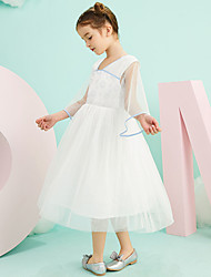 cheap -Ball Gown Tea Length Wedding / Birthday Flower Girl Dresses - Tulle 3/4 Length Sleeve V Neck with Pattern / Print