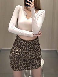 cheap -Women's Vacation Casual / Daily Vintage Streetwear Skirts Leopard Print Brown