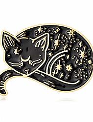 cheap -senfai 10k gold color cute sleepy lazy cat pin and brooch (gold)