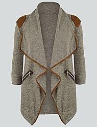 cheap -Women's Plus Size Blazer Regular Deep V Work Fall Spring Black Blue Beige Big Size M L XL XXL