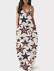 cheap -2021 amazon new product cross-border temperament european and american women's sling low collar tie-dye printed long skirt loose dress