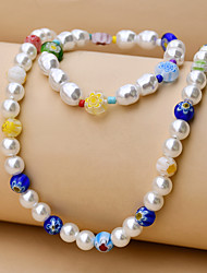 cheap -Women's Jewelry Set Beads Flower Colorful Fashion Holiday Sweet Boho Pearl Earrings Jewelry Rainbow For Halloween Gift Sports Prom Festival 2pcs