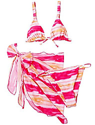 cheap -bikini swimsuit for women, tie dye 3 pieces set, knot front off shoulder cover up with halter bikini sets bathing suit (pink+yellow, l)