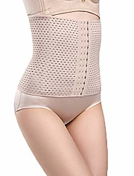 cheap -Corset Women's Waist Cinchers Tummy Control Adjustable Solid Color Hook & Eye Spandex Polyester Running Gym Walking Driving Fall Winter Spring Summer Six-breasted skin tone Six-breasted black