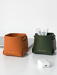 cheap -nordic pu storage tray entrance key leather storage box desktop cosmetics remote control sundries storage basket