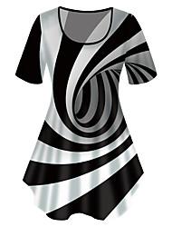 cheap -Women's Plus Size Tops T shirt Print Graphic 3D Large Size Crewneck Short Sleeve Basic Big Size XL XXL 3XL 4XL 5XL Black