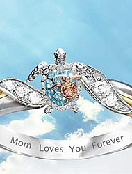 cheap -Band Ring Mixed Color Silver Gold Rhinestone Alloy Turtle Cute 1pc 5 6 7 8 9 / Women's
