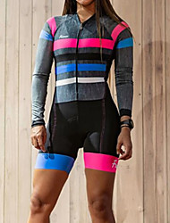 cheap -Women's Men's Long Sleeve Triathlon Tri Suit Summer Grey Stripes Bike Quick Dry Breathable Sports Stripes Mountain Bike MTB Road Bike Cycling Clothing Apparel / Stretchy / Athletic