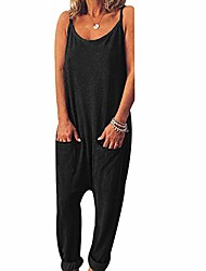 cheap -xzmy women's spaghetti strap loose jumpsuit round neck backless harem pants one piece romper playsuit black