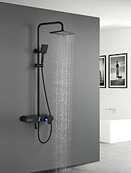 cheap -Shower System Set - Handshower Included LED Rainfall Shower Contemporary Electroplated / Painted Finishes Mount Outside Ceramic Valve Bath Shower Mixer Taps