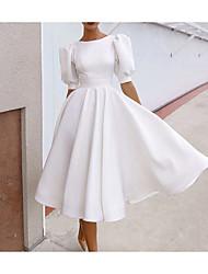 cheap -A-Line Beautiful Back Elegant Engagement Formal Evening Dress Jewel Neck Half Sleeve Tea Length Satin with Sleek Pleats 2021