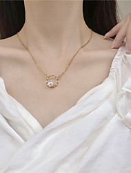 cheap -Women's Couple's Pendant Necklace Necklace Classic Drop Dainty Simple Elegant Cute Imitation Pearl Alloy Gold 45 cm Necklace Jewelry 1pc For Party Evening Street Gift Birthday Party / Charm Necklace