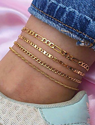 cheap -set combination foot jewelry fashion simple multi-layer anklet metal alloy chain type anklet women