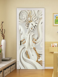 "cheap -2pcs Self-adhesive Creative 3d Door Stickers Sculpture Beauty Living Room Diy Decoration Home Waterproof Wall Stickers 30.3""x78.7""(77x200cm), 2 PCS Set"
