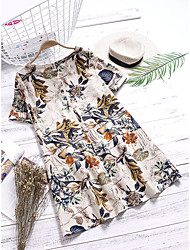 cheap -quality 2019 summer european and american women's short-sleeved round neck plus size pocket a-line skirt dress wholesale