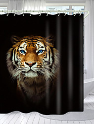 cheap -Blue Eyed Tiger Digital Printing Shower Curtain Shower Curtains Hooks Modern Polyester New Design 72 Inch