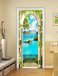 "cheap -Landscape 2pcs Self-adhesive Creative Island Landscape Door Stickers For Living Room Diy Decorative Home Waterproof Wall Stickers 30.3""x78.7""(77x200cm), 2 PCS Set"
