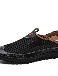 cheap -Men's Sandals Crochet Leather Shoes Flat Sandals Casual Beach Daily Outdoor Nappa Leather Synthetics Breathable Handmade Non-slipping Booties / Ankle Boots White Black Blue Spring Summer