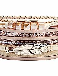 cheap -wrap multilayer bracelets for women - leather wristband strand - boho bangle gift ideas for teen girls (leopard bracelet)