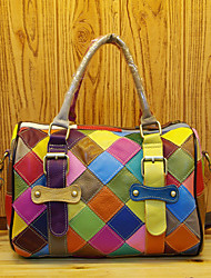 cheap -cross-border new leather and cowhide women's bag, handmade contrast color colorful lattice box bag stitching messenger bag