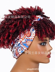 cheap -new headscarf wig with bangs cross-border chemical fiber wig ladies fashion short curly hair synthetic headgear