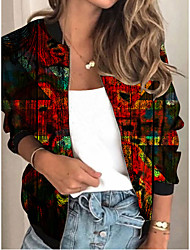 cheap -Women's Jackets Print Print Sporty Spring Jacket Regular Daily Long Sleeve Air Layer Fabric Coat Tops Red