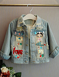 cheap -Kids Girls' Jacket & Coat Cartoon Patchwork Letter Long Sleeve Sequins Ripped Patchwork Causal Daily Blue Active Streetwear Regular
