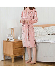 cheap -High Quality Flannel Bathrobe For Women,Cardigan Pink Knitted Soft Nightgown