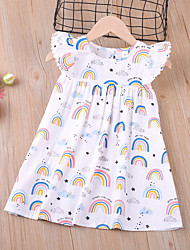 cheap -Kids Toddler Little Girls' Dress White Rainbow Shift Dress Christmas Gifts Festival Print White Above Knee Sleeveless Regular Active Cute Dresses Children's Day Summer Regular Fit 3-8 Years