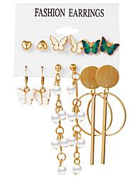 cheap -Women's Earrings Tassel Fringe Sweet Heart Stylish Elegant European Sweet Imitation Pearl Earrings Jewelry Gold For Party Evening Street Date Birthday Festival