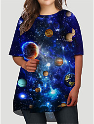 cheap -Women's Plus Size Dress T Shirt Dress Tee Dress Short Mini Dress Half Sleeve Graphic 3D Stars Print Basic Fall Spring Summer Blue XL XXL 3XL 4XL 5XL