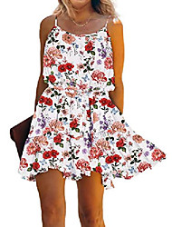 cheap -shibever womens dresses spaghetti strap floral mini dress summer backless swing dress with tie knot white m