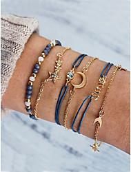 cheap -6pcs Women's Bracelet Layered Moon Star Fashion Sweet Rhinestone Bracelet Jewelry Gold For Gift Date Birthday Beach