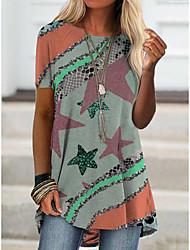 cheap -2021 amazon aliexpress spring new foreign trade cross-border fashion women's short-sleeved digital printing t桖9104