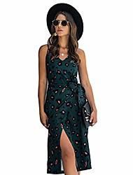 cheap -women\'s dresses, v neck spaghetti strap floral split party tulip adjustable midi dress with belt (dark green,xxl)